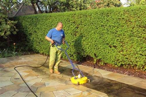 Cleaning Patio With An Extention
