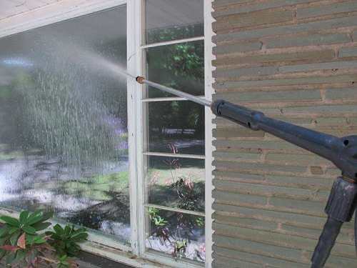 Using a Pressure Washer on a Window
